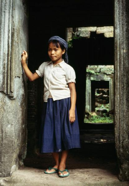 Angkor Wat girl at temple