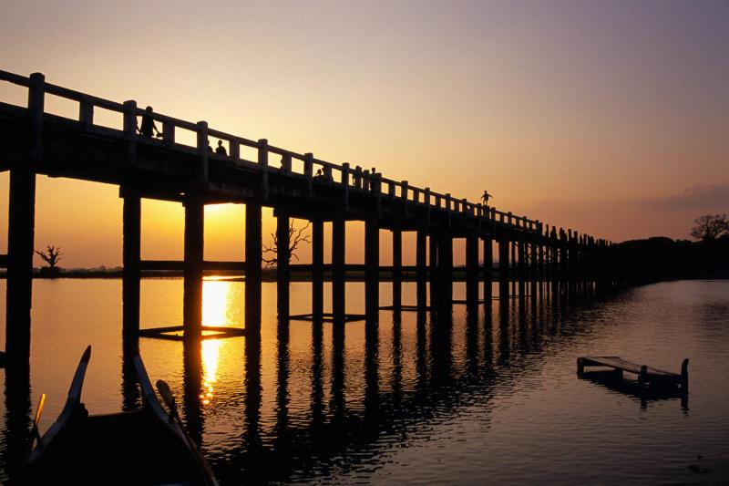 Myanmar bridge sunset